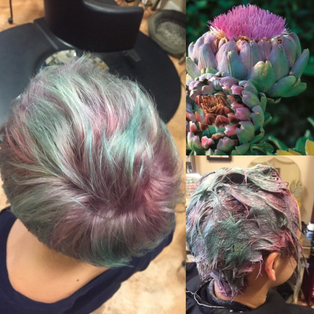 Artichoke Green Hair - Collage hair photo with plant Artichoke
