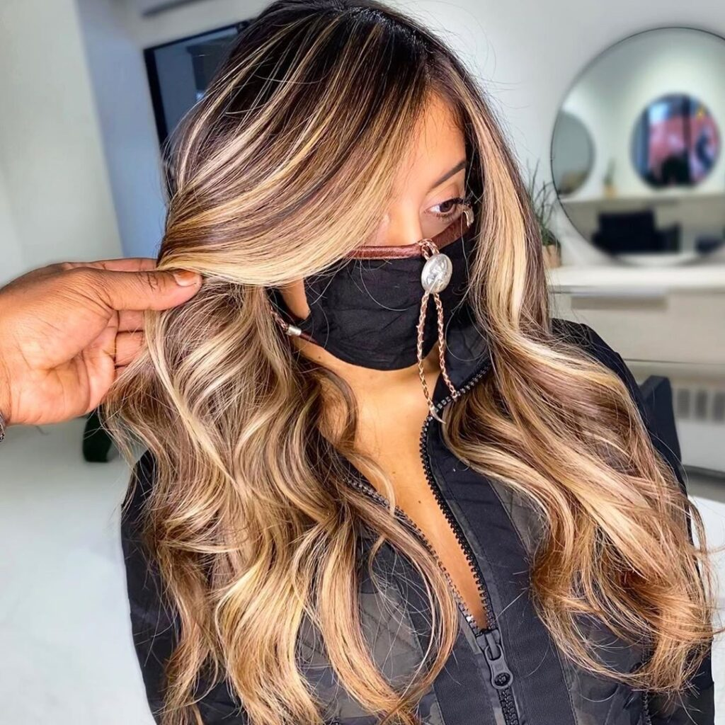 Caramel Blonde Hair color with front Pose