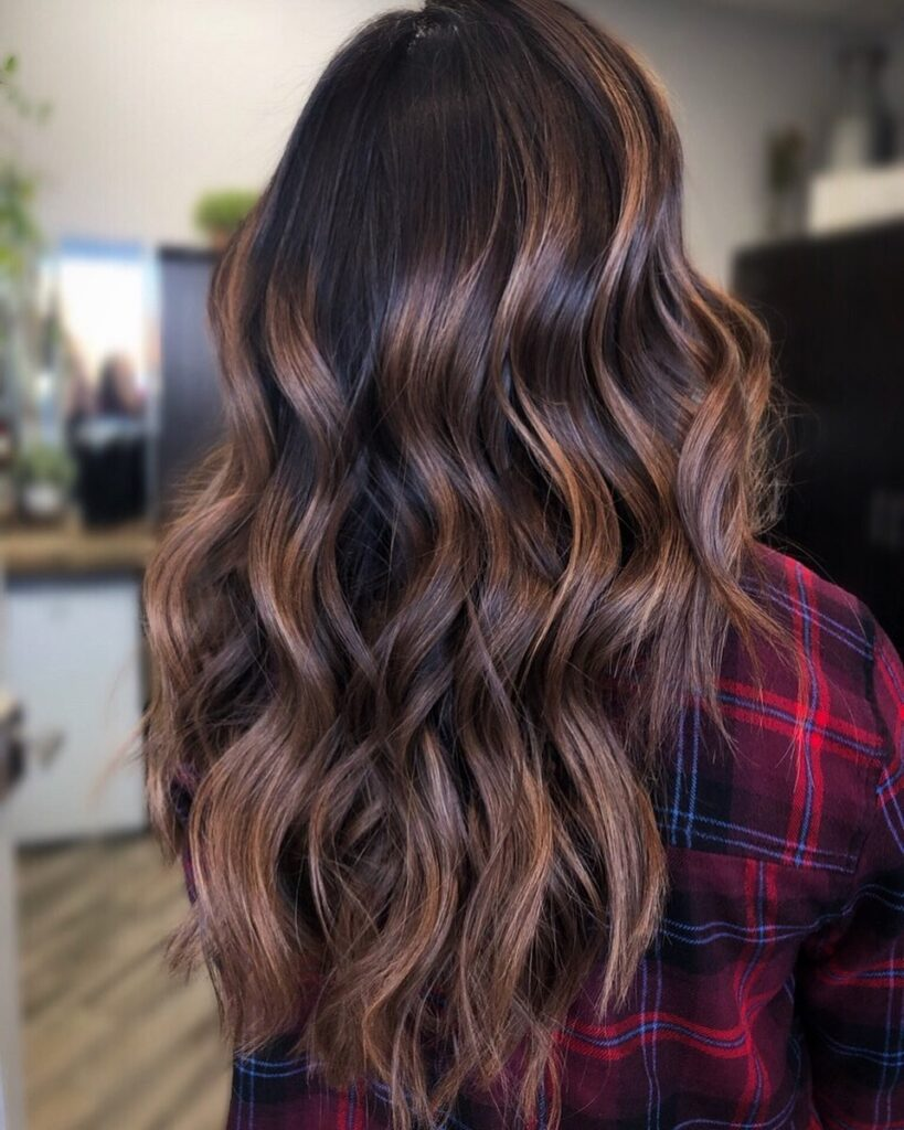 Espresso blonde hair color with back pose