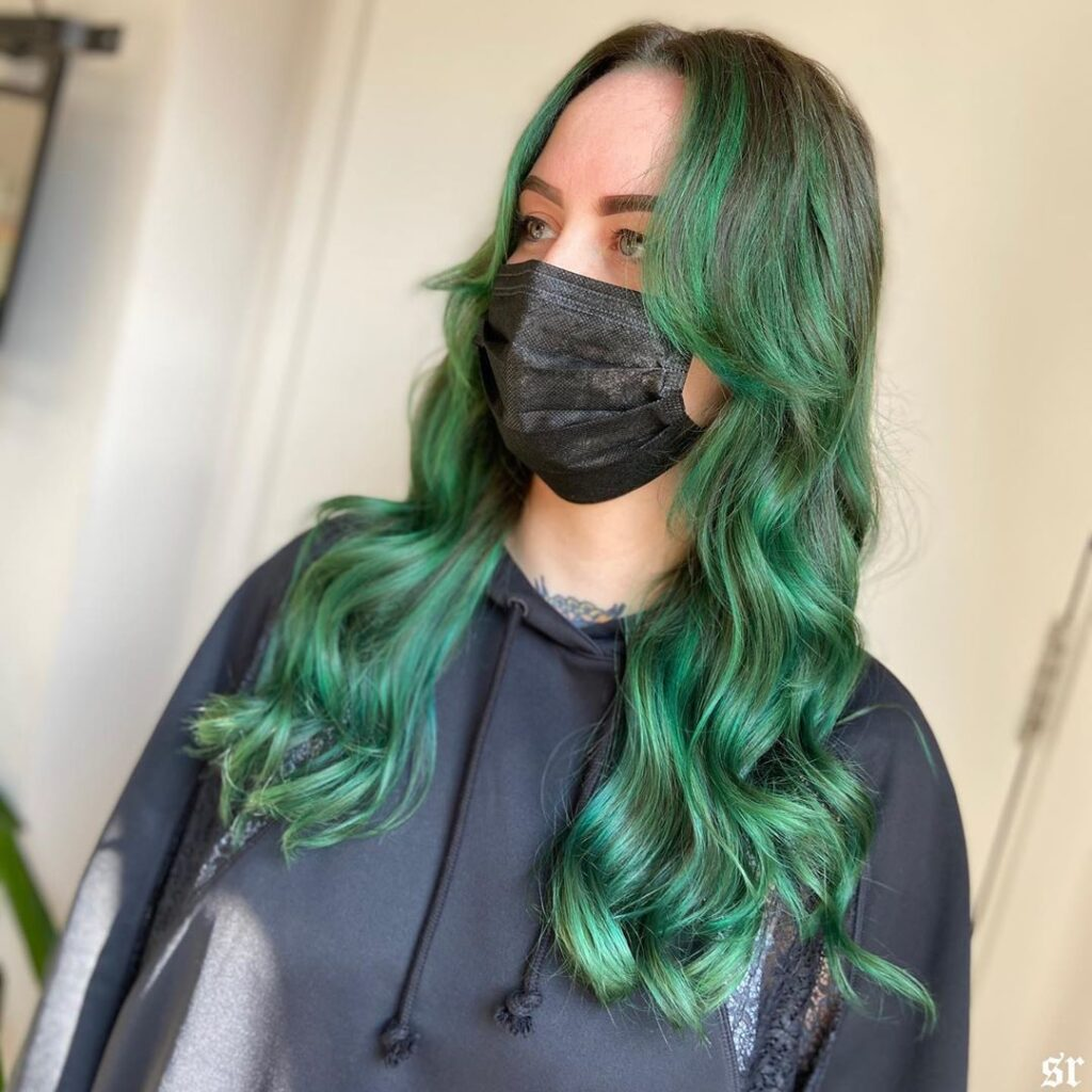 Forest Green Hair color with side pose