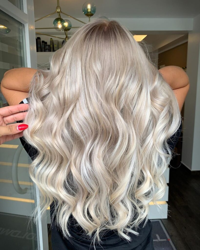 Light Blonde Hair color with back pose