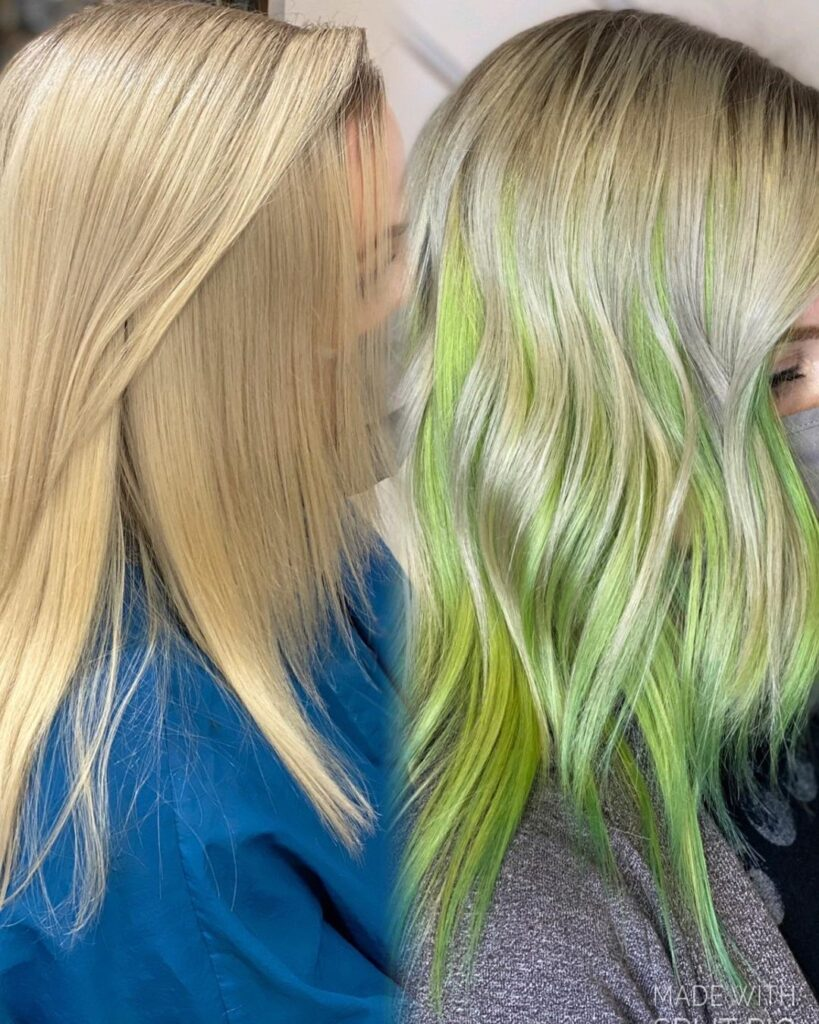 Lime Green Hair color with side pose