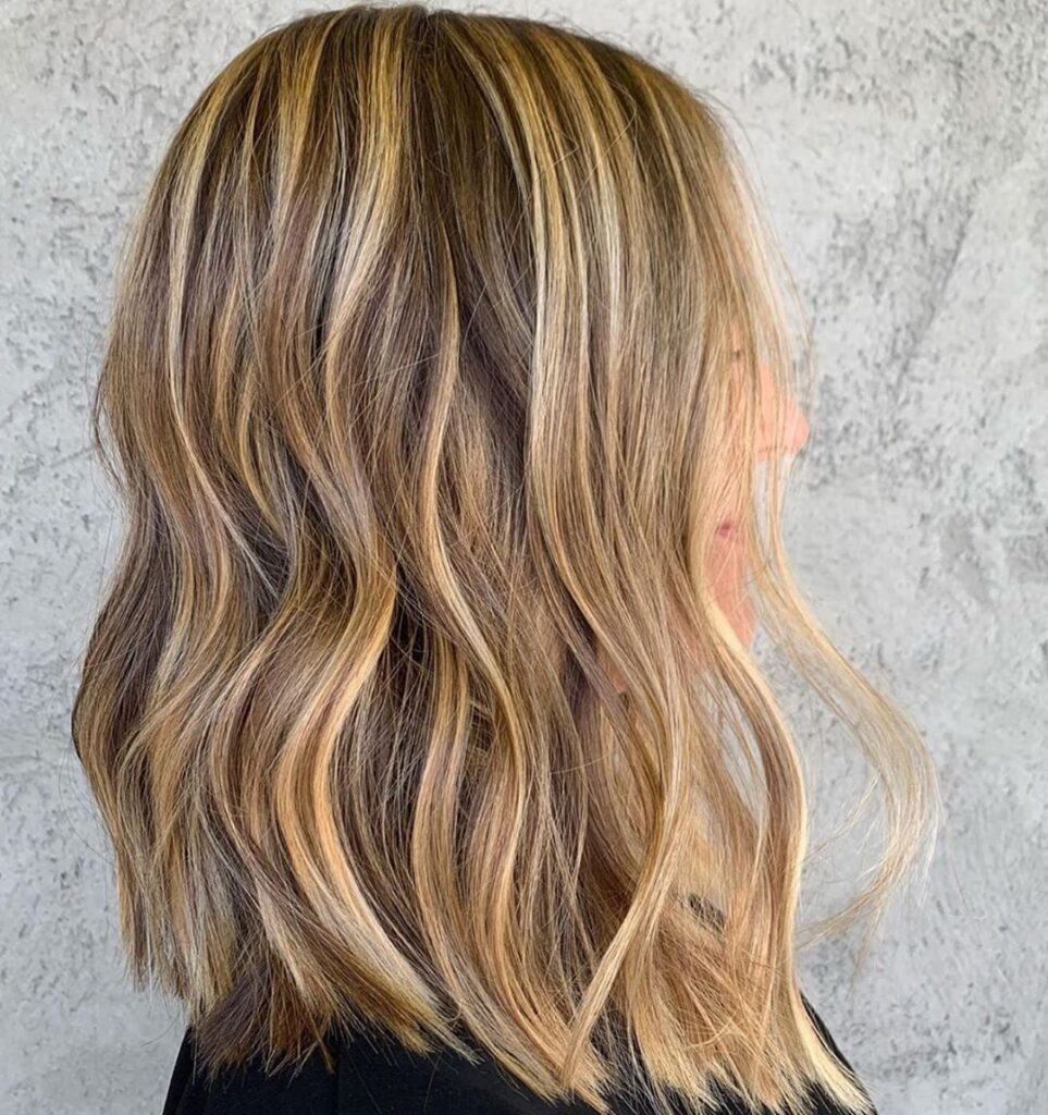Sunflower Blonde Hair color with side pose