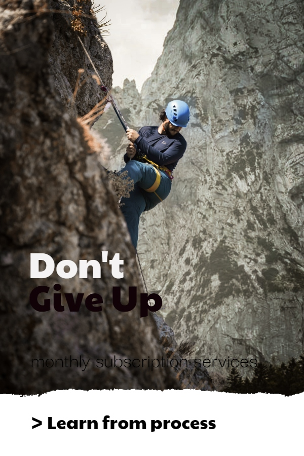 Never give up attitude - a guy is trying to climb the hill
