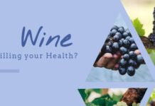 wine health effects explained with collage having variety of grapes