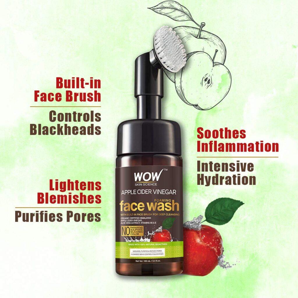 WOW Skin Science Apple Cider Vinegar Foaming Face Wash - Best Organic Face Wash