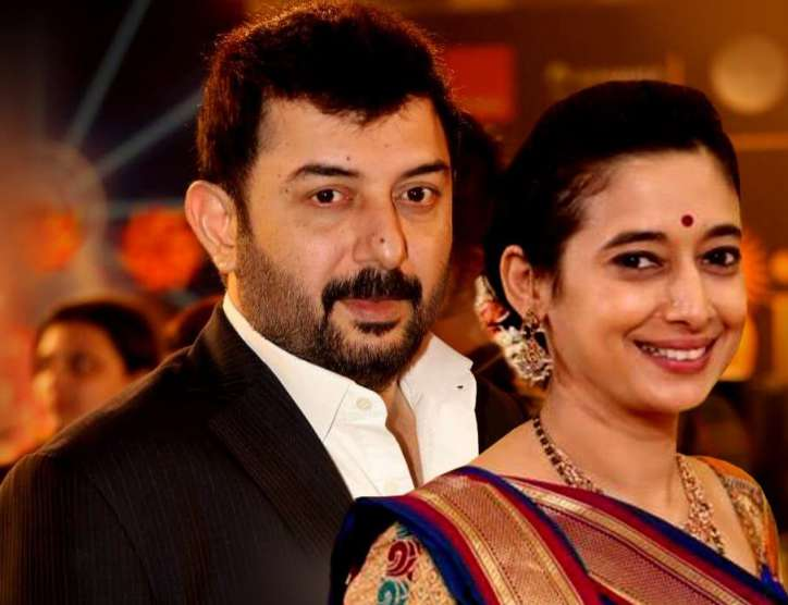 Arvind Swamy and Gayathri Ramamurthy posing in a function - south indian celebrities who got divorced