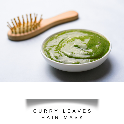 Paste of curry leaves and hibiscus petals in bowl with a hair brush - hair fall remedy