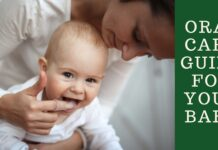 Baby with her mother in white clothes playing- oral care guide for your baby